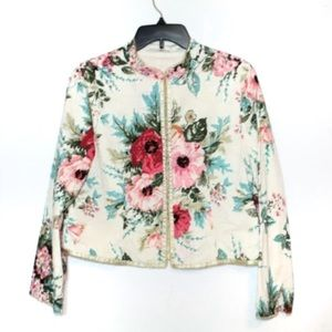 J.Jill floral eyelet colorful re crafted blazer